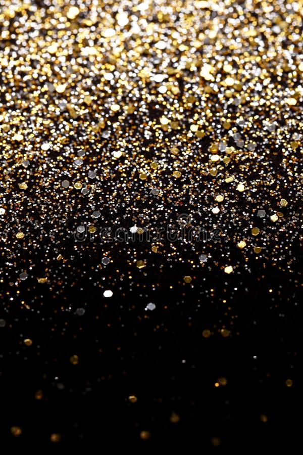 Free Christmas New Year Black And Gold Glitter Background. Holiday Abstract Texture Fabric Royalty Free Stock Photos - 43917088