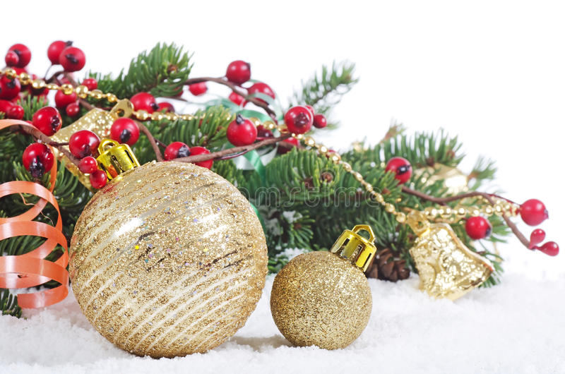 Christmas and New Year Border. On snow royalty free stock photography