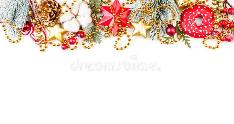 Christmas or New Year border composition on white background.  royalty free stock photography