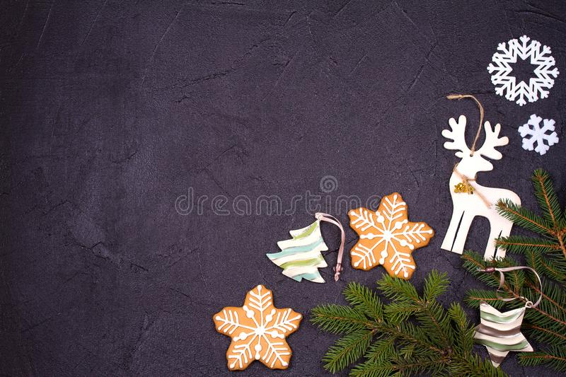 Christmas and New Year border or frame on black background. Winter holidays concept. View from above, top studio shot, horizontal stock photos