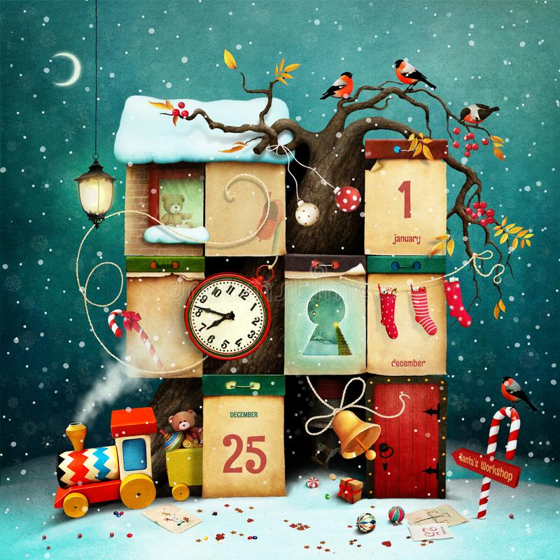 Christmas or New Year calendar stock illustration