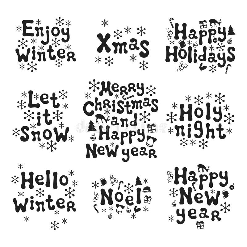 Christmas and New Year calligraphy phrases set. Handwritten brush seasons lettering collection. Xmas phrases. Hand drawn royalty free illustration