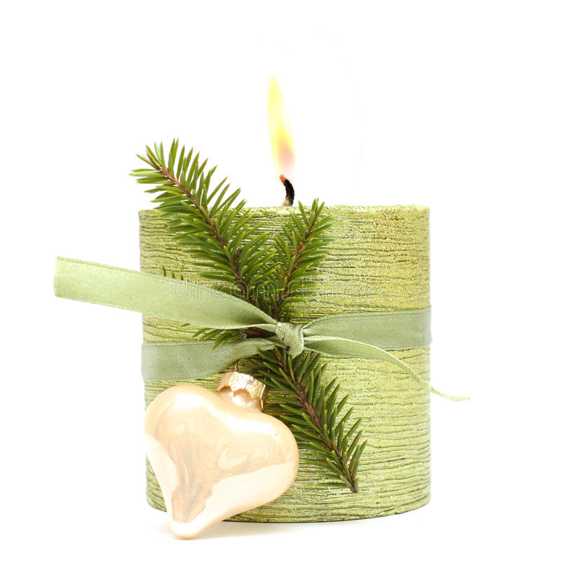 Download Christmas Or New Year Candle, Ribbon And Fir Stock Image - Image: 16792903