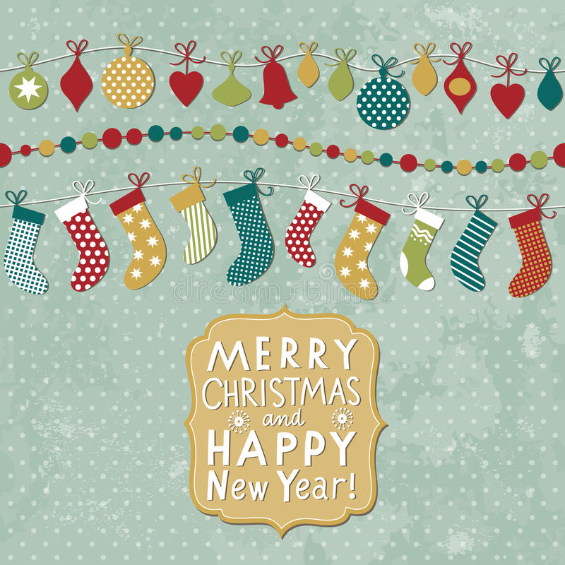 Christmas and New Year card royalty free illustration