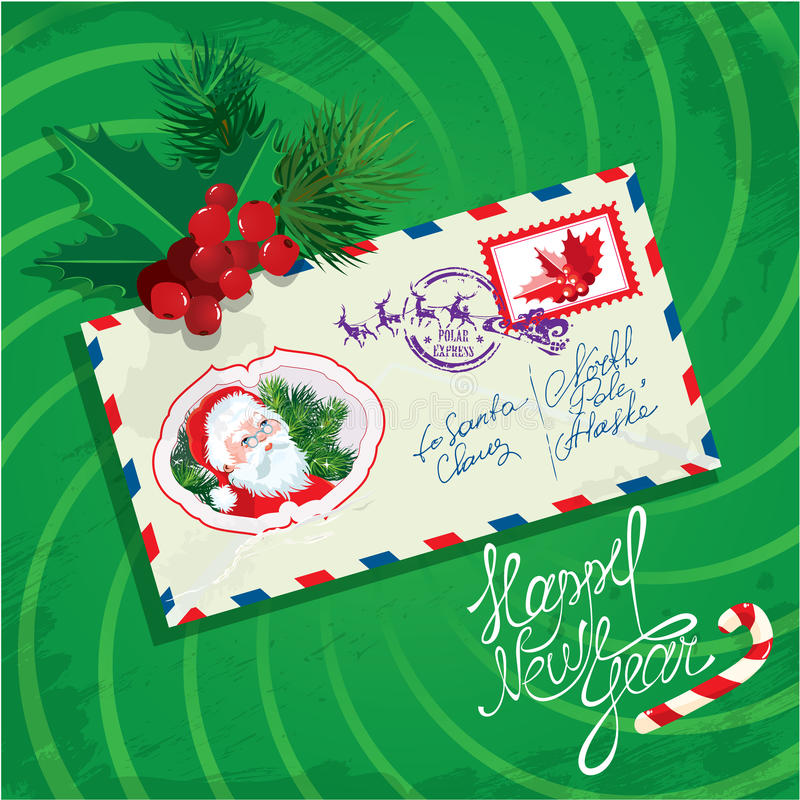 Christmas and New Year card with envelope, christm stock illustration