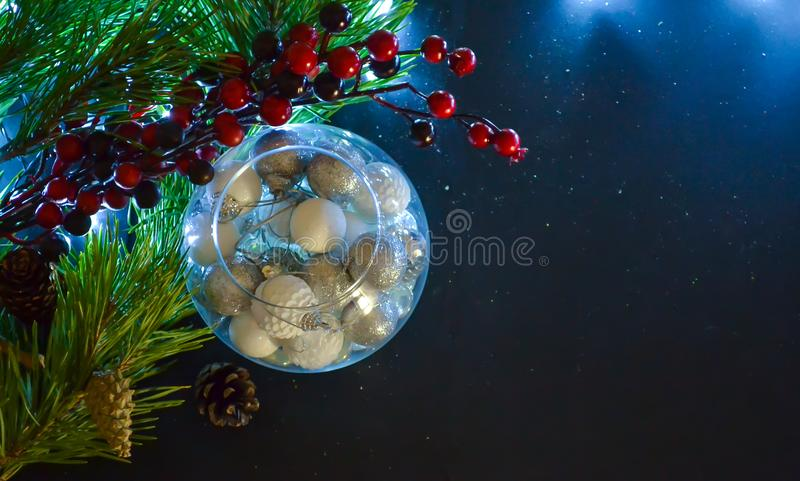 Christmas, New Year card. Fir branches. Top view Scenery and New Year`s lighting. Free space for text royalty free stock photos