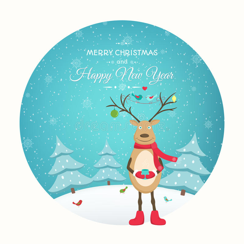 Christmas New Year card funny reindeer character stock illustration