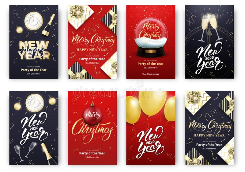Christmas and New Year cards. Merry Xmas holiday poster design layout templates.  royalty free illustration