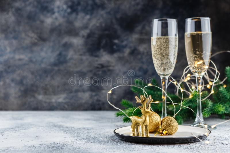 Festive place setting for christmas dinner. Top view. Copy space royalty free stock photography