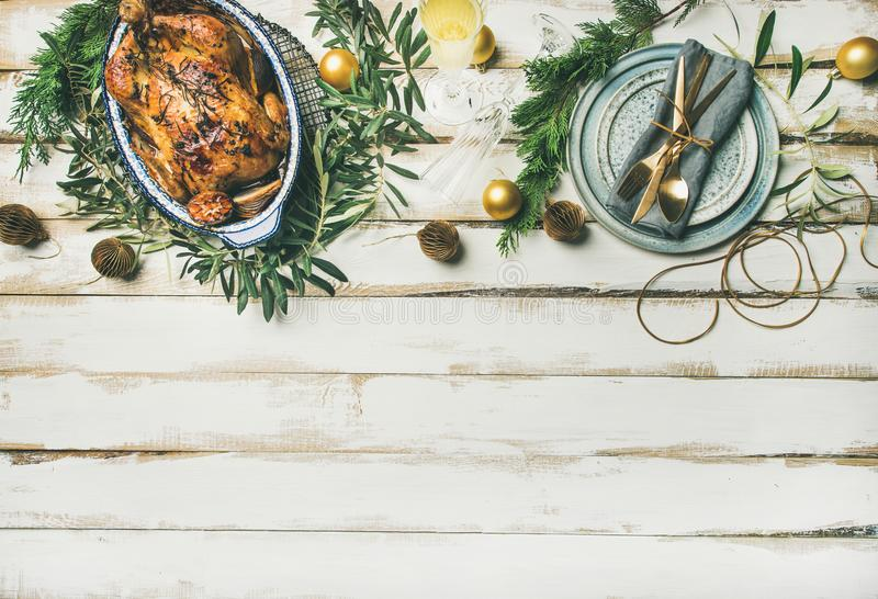 Christmas or New Year celebration table setting, copy space stock images