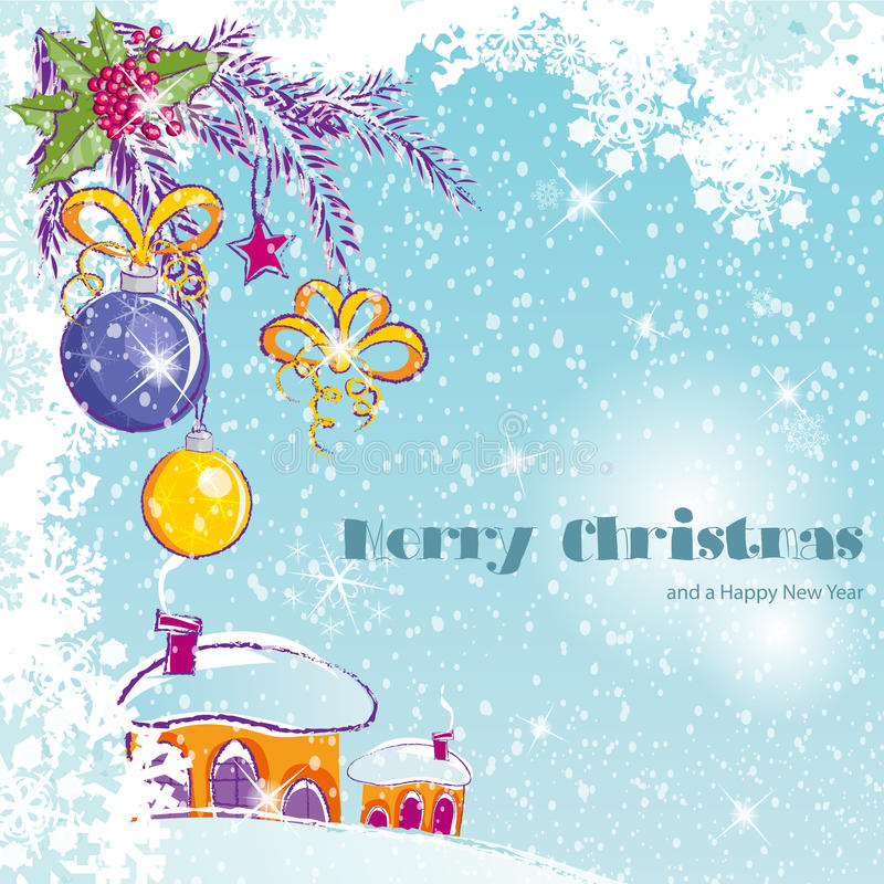 Christmas and the new year with Christmas ornaments stock illustration
