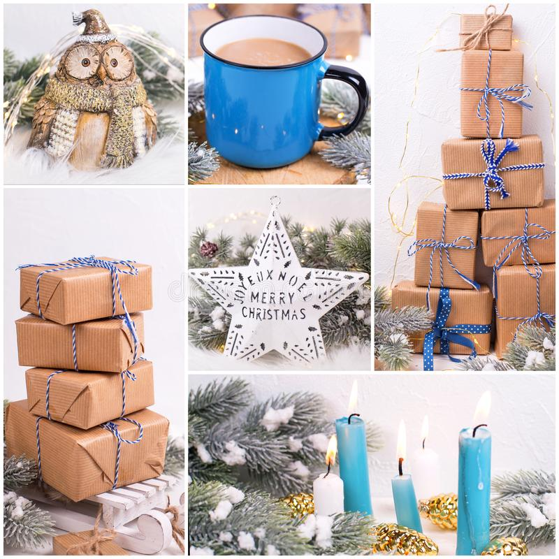 Christmas, New Year  collage with vintage decorations. Boxes with presents, blue burning candles, decorative white star, bird owl, mug or cup with hot drink  on stock photos