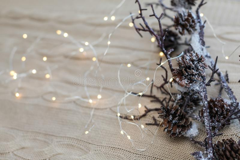 Christmas and New Year composition. Close up snow branches with cones and garland on knitted white background. stock photos
