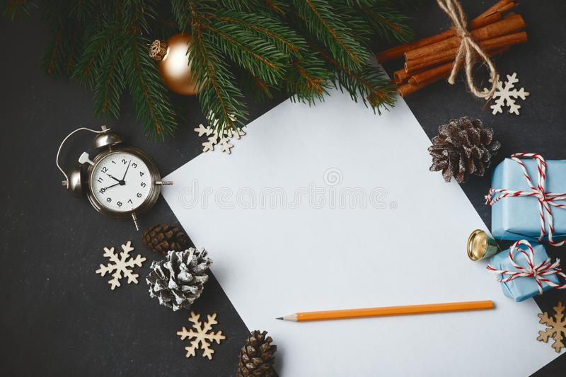Christmas New Year composition fir branches pine cone cinnamon v stock photography