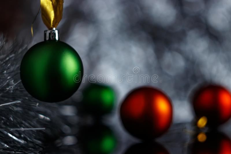 Christmas or New Year concept. Cold northern light moonlight illuminates the New Year scene. stock photos