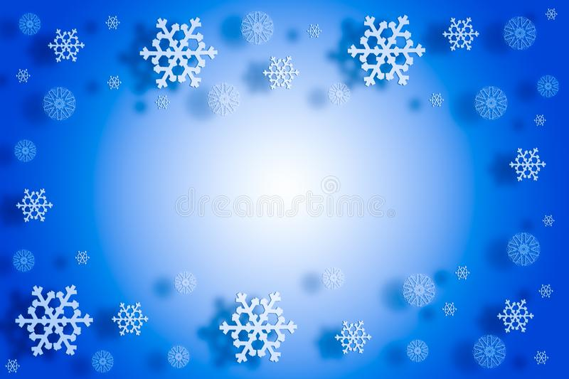 2019 christmas new year concept, falling snowflakes with shadow on blue gradient background royalty free stock image