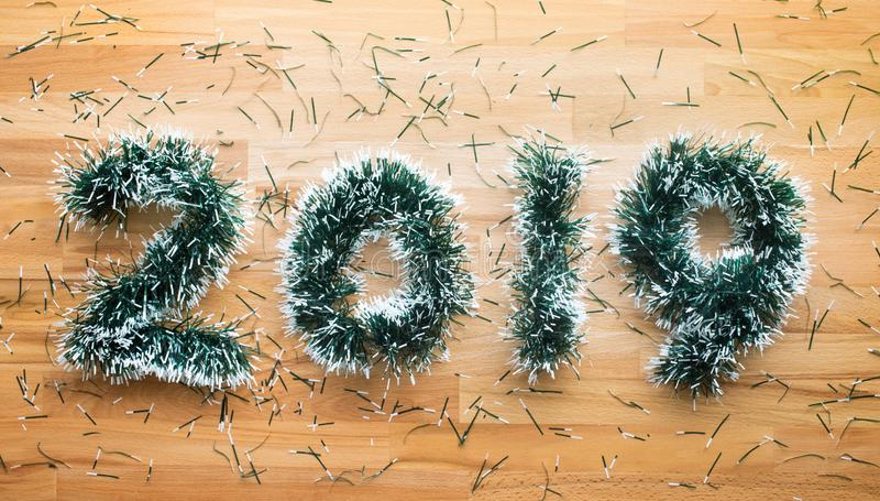 2019 christmas and new year concepts with pine branch decoration on wooden.celebration idea stock photo