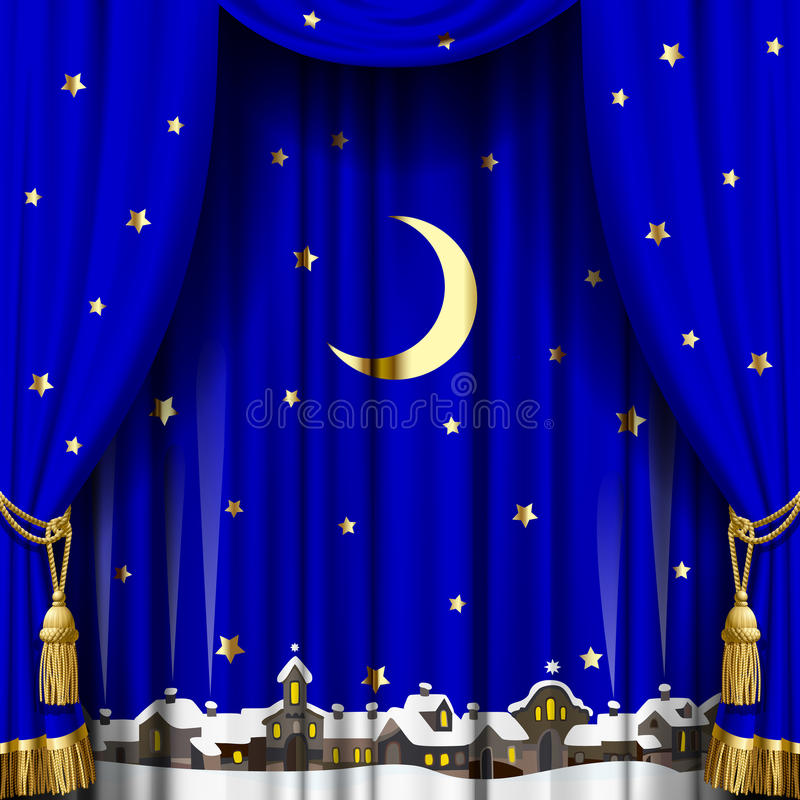 Christmas and New Year curtain vector illustration