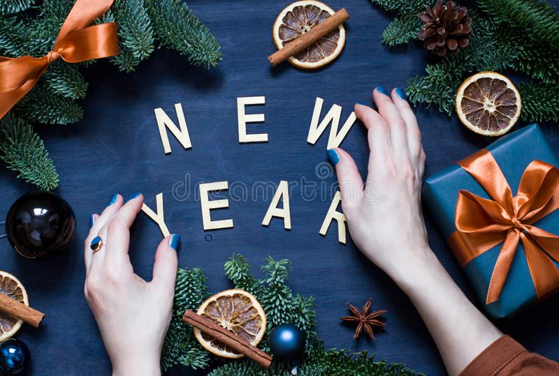 Christmas, New Year dark blue flat lay. Winter holiday concept flat lay. royalty free stock image