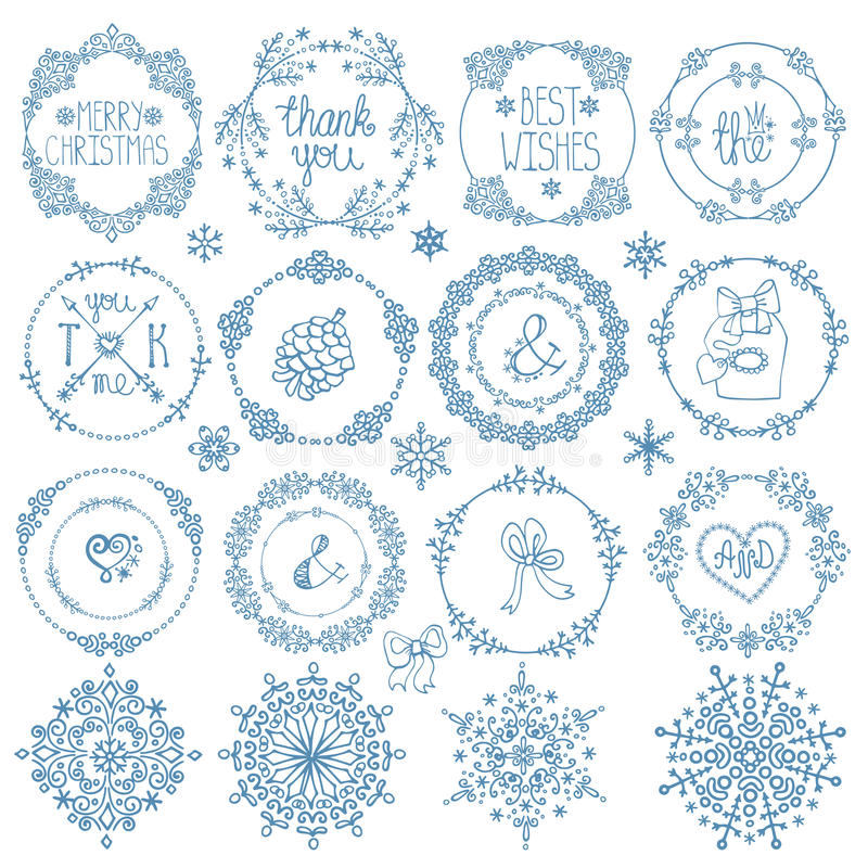 download christmasnew year decor setwinter circle frames stock vector image - Winter Frames