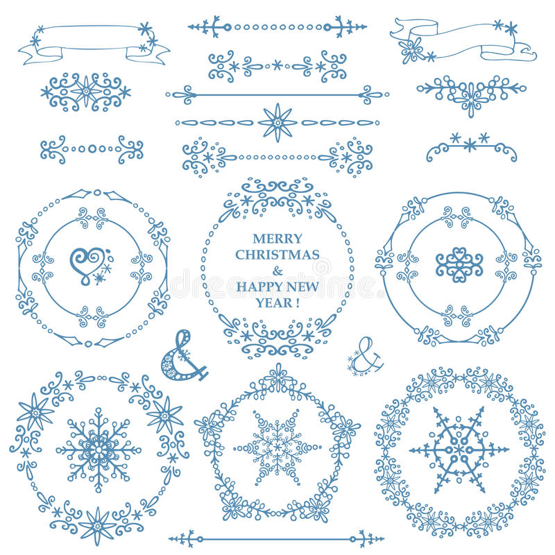 Christmas,New year decor set.Winter.Frames Wreath vector illustration
