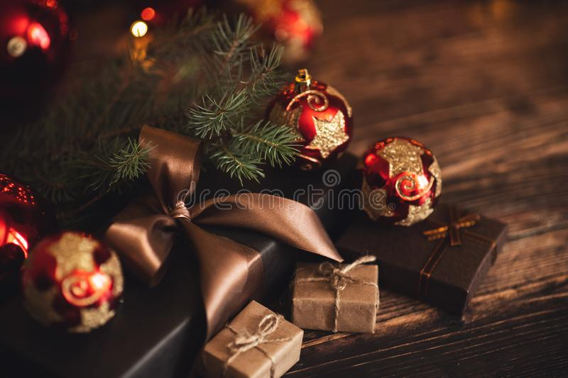 Christmas and New Year Decoration. Bauble on Christmas Tree. Shallow DOF. Christmas and New Year Decoration. Bauble on Christmas Tree royalty free stock photos