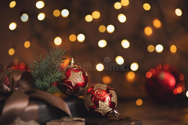 Christmas and New Year Decoration. Bauble on Christmas Tree. Shallow DOF. Christmas and New Year Decoration. Bauble on Christmas Tree royalty free stock photo