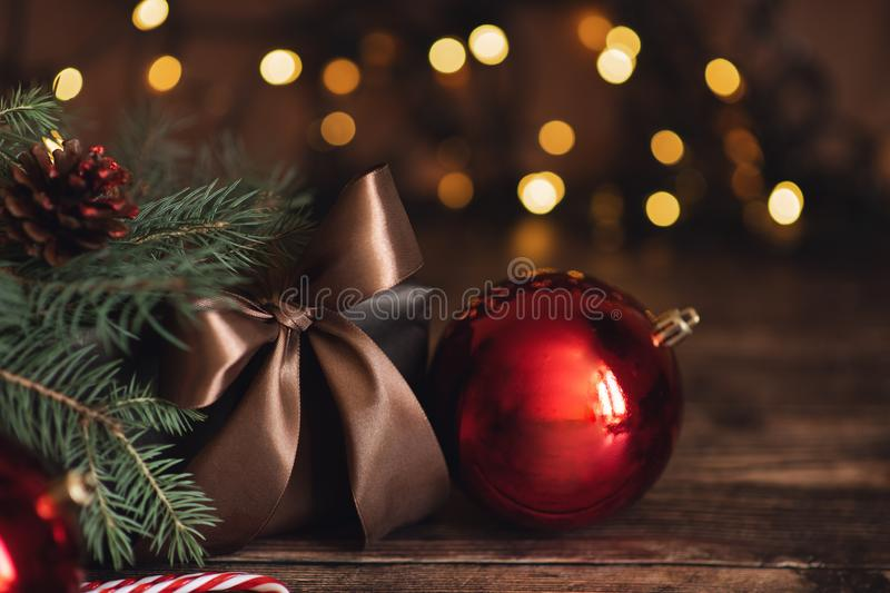 Christmas and New Year Decoration. Bauble on Christmas Tree. Shallow DOF. Christmas and New Year Decoration. Bauble on Christmas Tree stock photo