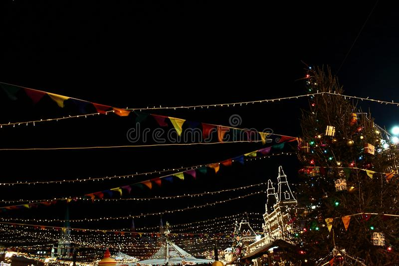 Christmas and New Year decoration flags at Red Square near Kremlin royalty free stock photography