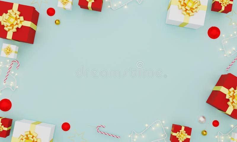 Christmas and New Year decoration flatlay on light blue background.Holiday greeting card.Christmas and New Year background concept royalty free stock images