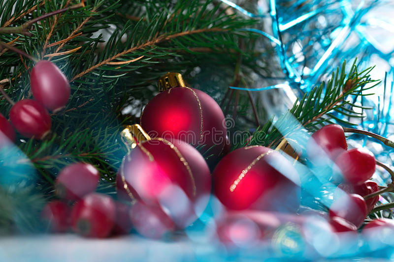 Christmas and New Year Decoration isolated on white background. Border art design with holiday bauble. Beautiful tree royalty free stock photography