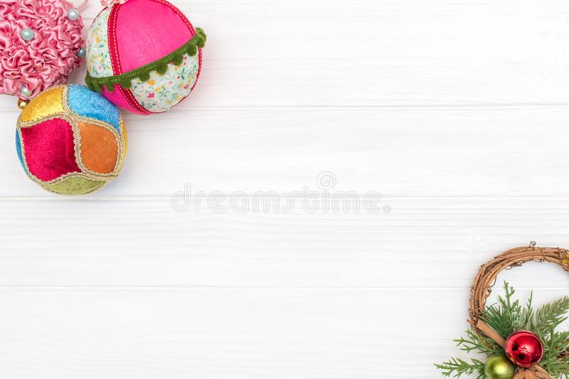 Christmas and new year decoration made of corner frame with New Year ornaments stock photo