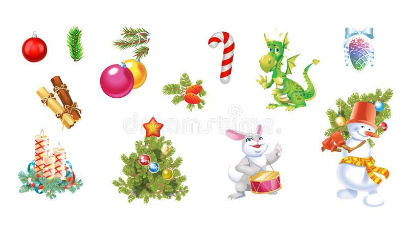 Christmas and New Year decoration set with pine tree, balls, toys, snowman and candles. Festive vector elements for design or vector illustration