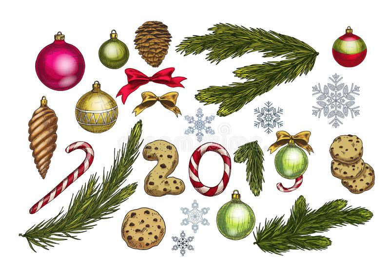 Christmas and New Year decoration set with pine tree branches, balls, bows, snowflakes, cones and sweets. Festive vector elements royalty free illustration