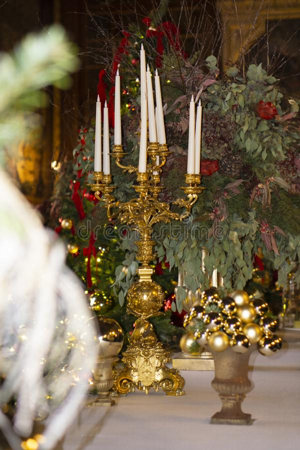 Christmas and New Year decorations candles royalty free stock photography