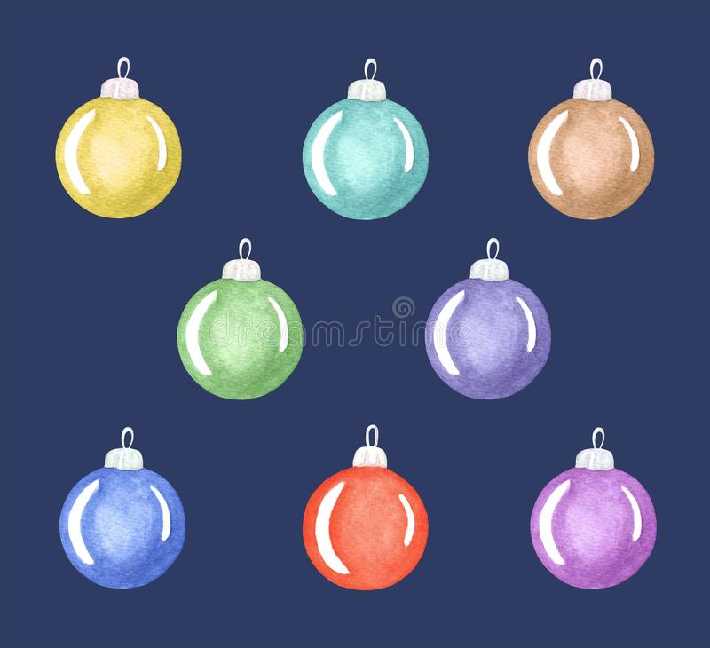 Set of Christmas and New Year decorations, colorful decorative balls isolated on deep blue background stock illustration