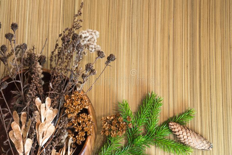 Christmas and New Year decorations. Dry branches, cones, fir branch. Warm tones. royalty free stock images