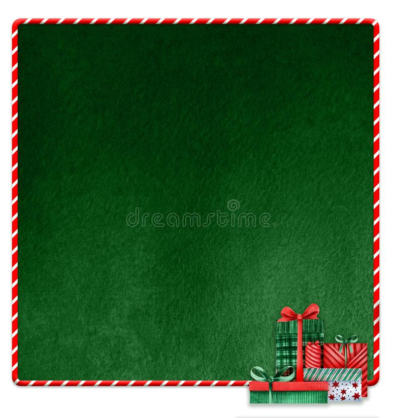 Christmas New Year decorative background. Green texture space. Red white canopy frame lollipop. A bunch of gifts. Gift vector illustration