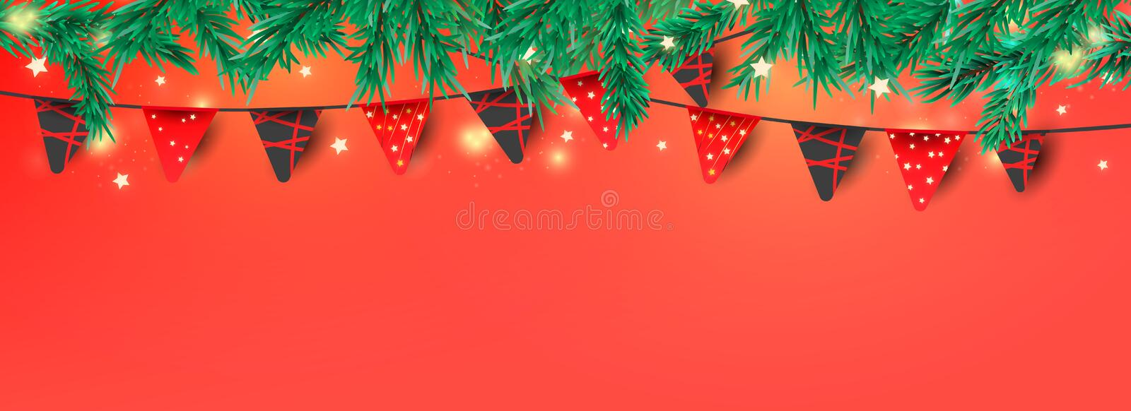 Christmas or New Year decorative elements for banner decoration. Red garland flags, glitter confetti and pine branches with place stock image
