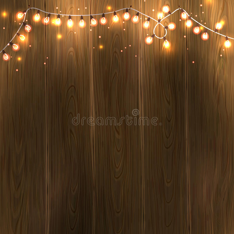 Christmas New Year design: wooden background with christmas lights garland. Vector illustration, eps10. stock illustration