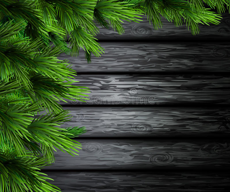 Christmas New Year design wooden background. Christmas New Year design dark rustic wooden background with christmas tree for your design stock illustration