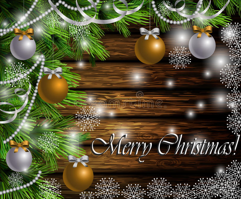 Christmas New Year design wooden background. Christmas New Year design dark wooden background with christmas tree and gold and silver balls and snowflakes stock illustration