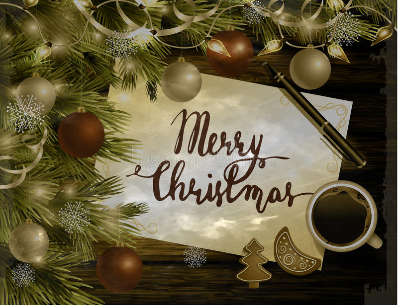Christmas New Year design wooden background. Christmas New Year design dark wooden background with christmas tree and silver and red balls and handwritten Merry royalty free illustration