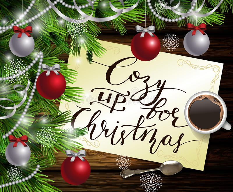 Christmas New Year design wooden background. Christmas New Year design dark wooden background with christmas tree and silver and red balls and paper with stock illustration