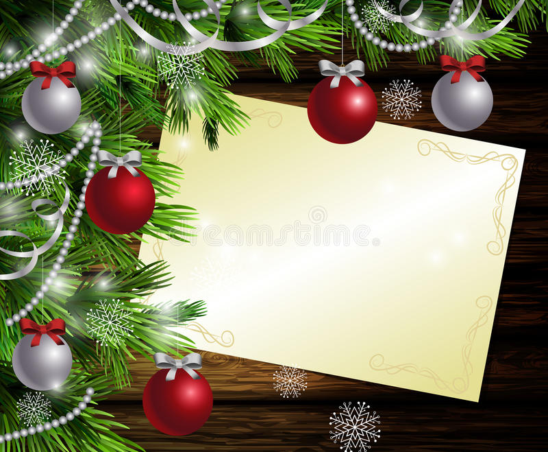 Christmas New Year design wooden background. Christmas New Year design dark wooden background with christmas tree and silver and red balls and wish list royalty free illustration