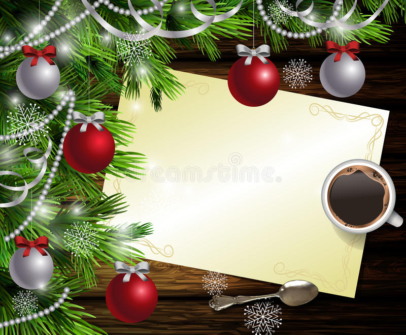 Christmas New Year design wooden background. Christmas New Year design dark wooden background with christmas tree and silver and red balls and wish list with a stock illustration