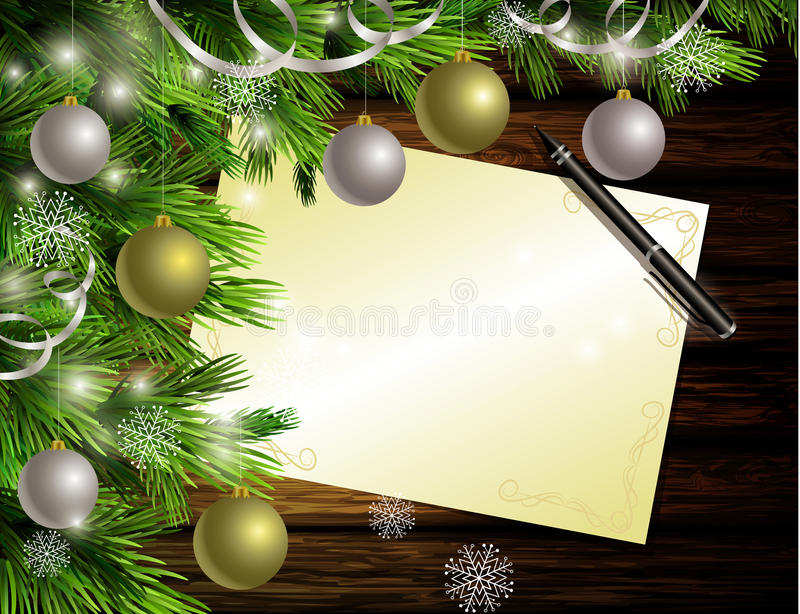 Christmas New Year design wooden background. Christmas New Year designdark rustic wooden background with christmas tree and golden and red balls and wish list vector illustration