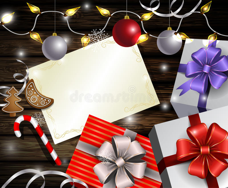 Christmas New Year design wooden background. Christmas New Year designt dark wooden background with silver and red balls and wish list with gift boxes with vector illustration