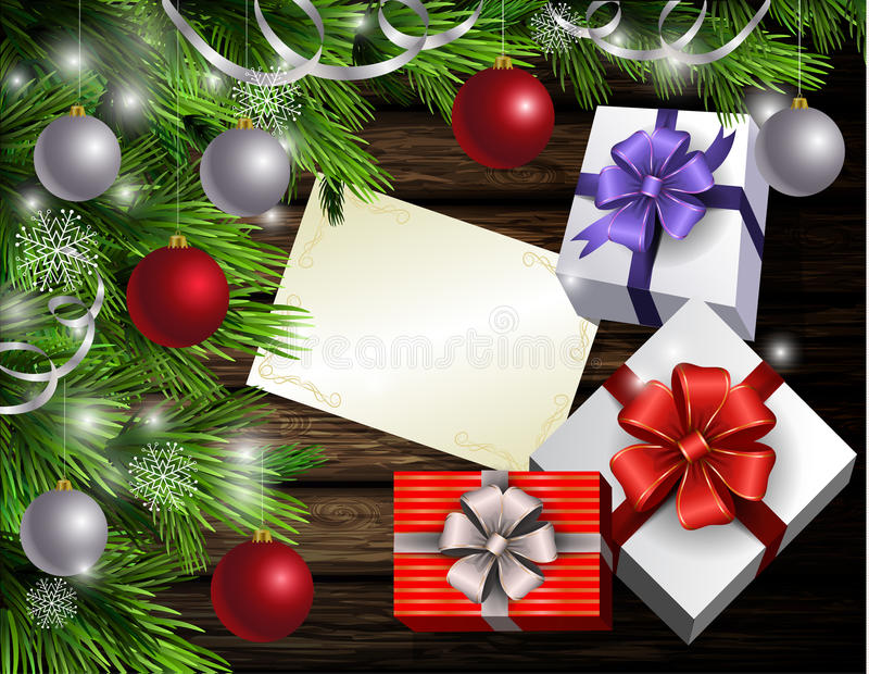 Christmas New Year design wooden background. Christmas New Year designt dark wooden background with christmas tree and silver and red balls and wish list with stock illustration