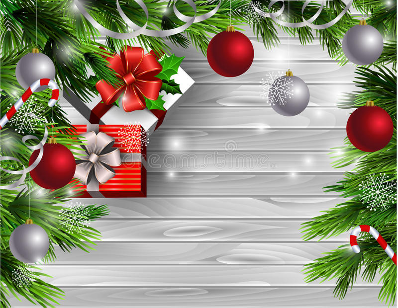 Christmas New Year design wooden background. Christmas New Year design light wooden background with christmas tree and silver and red balls and candy canes with stock illustration